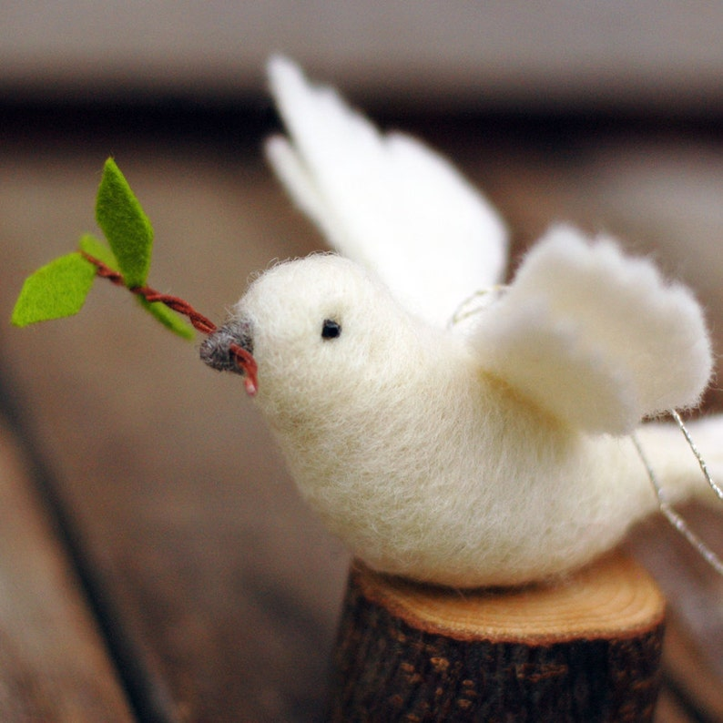 Peace Dove  Needle Felted Wool Ornament image 0