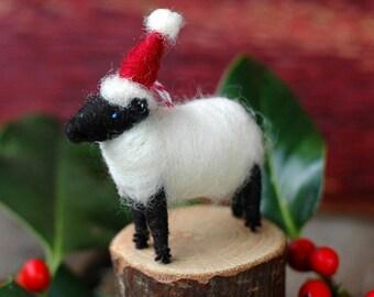 Santa Lamb - Needle Felted Suffolk Sheep Christmas Ornament