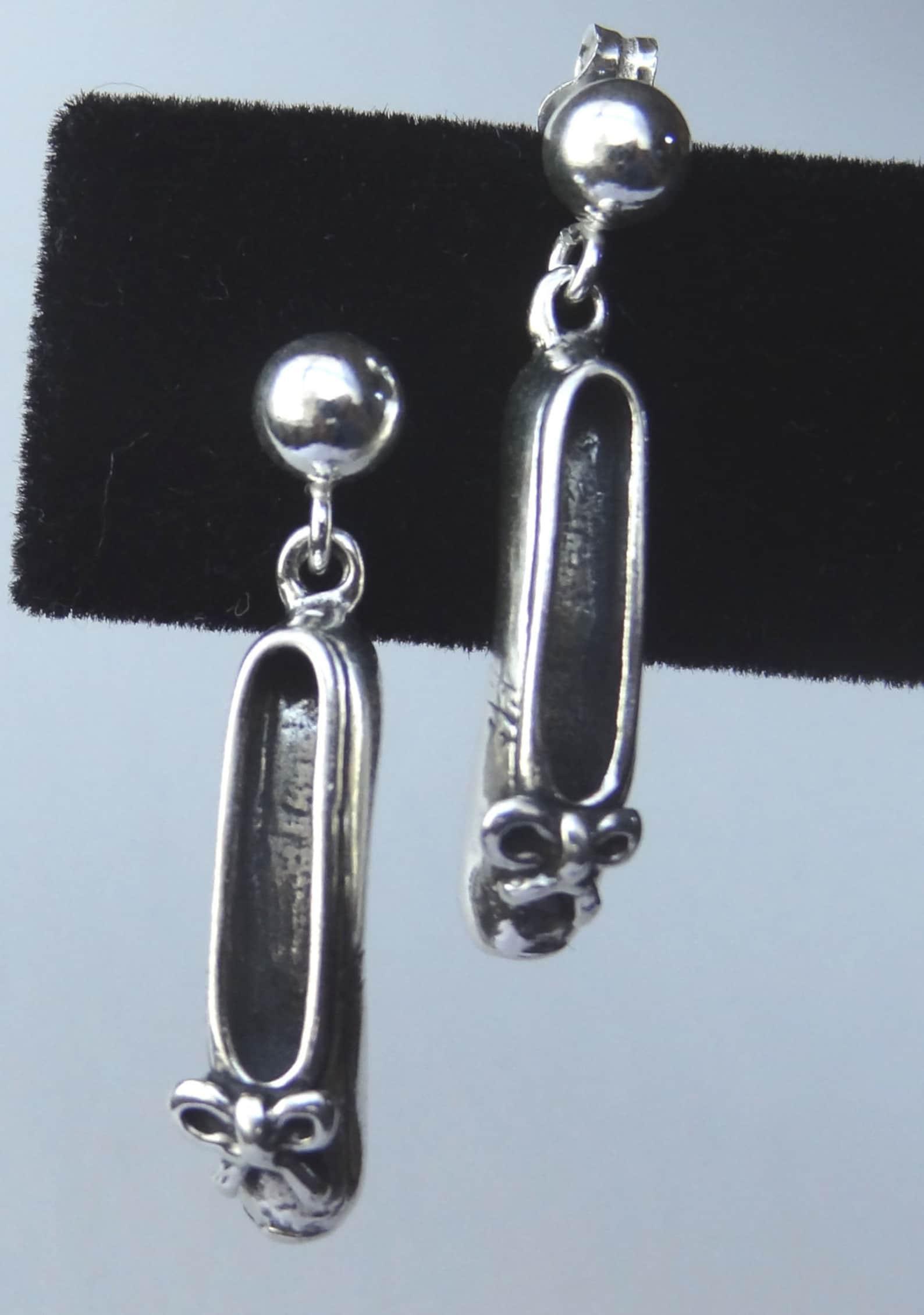 sterling silver ballet slipper post stud earrings, ballerina earrings, ballet slipper charm, ballet slipper earrings, recital gi