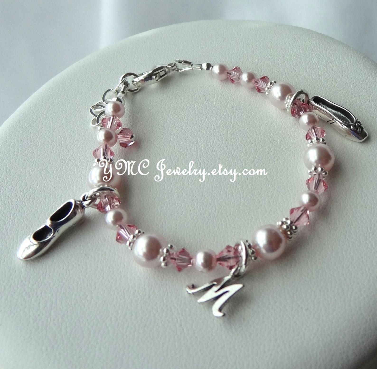 sterling silver ballerina slipper with initial letter bracelet, ballet recital, ballet bracelet, tap shoe bracelet, recital gift