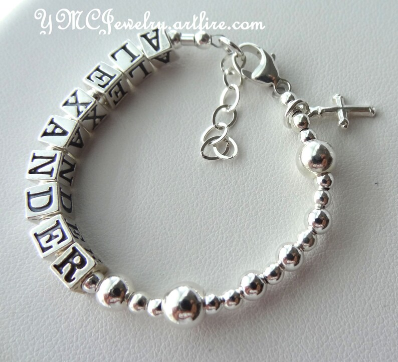 Angel Charm Girls Bracelet with Any Name Personalised Childrens jewellery.