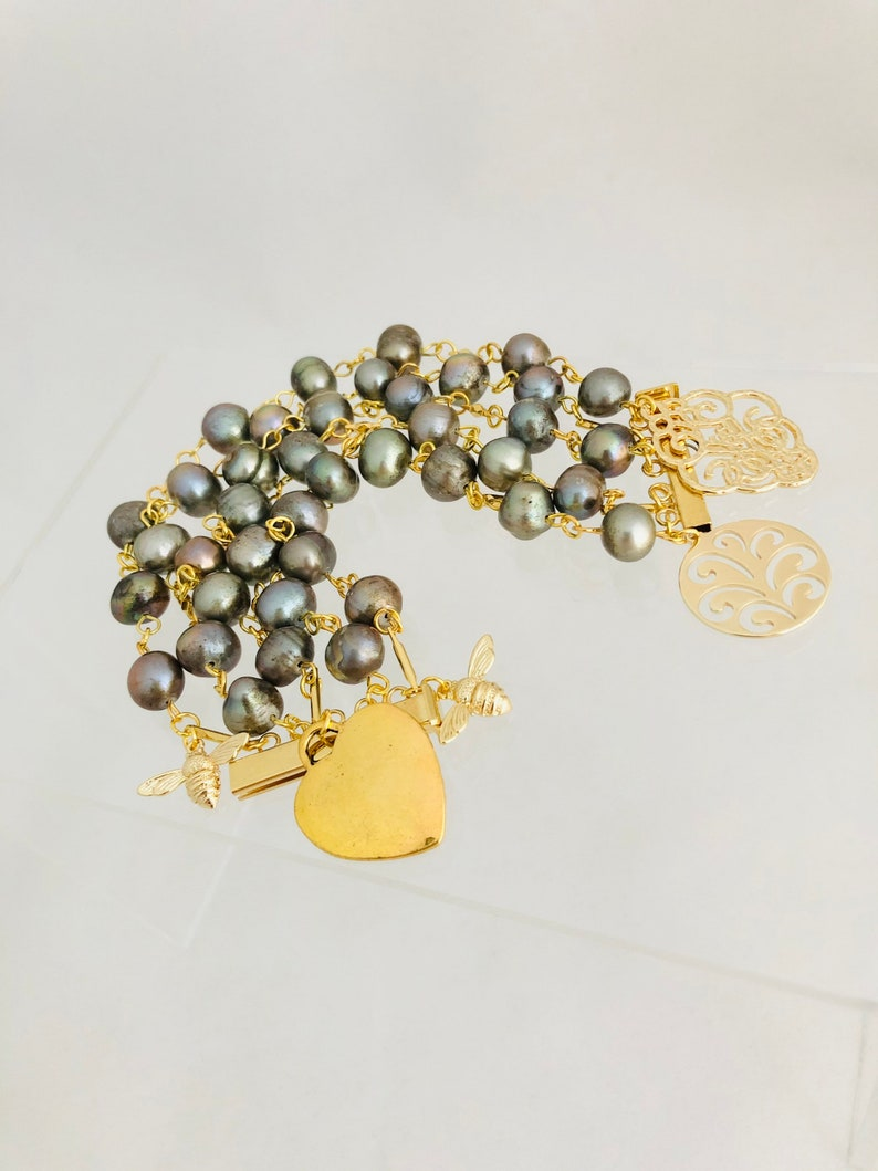Grace Kelly Rear Window bracelet with Genuine Freshwater silver Pearls and 18K gold charms