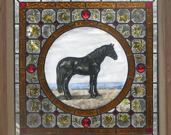 Canadian Black Horse Stained Glass