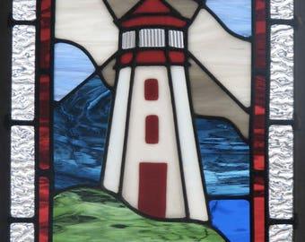 Stormy Lighthouse Stained Glass Panel Pattern