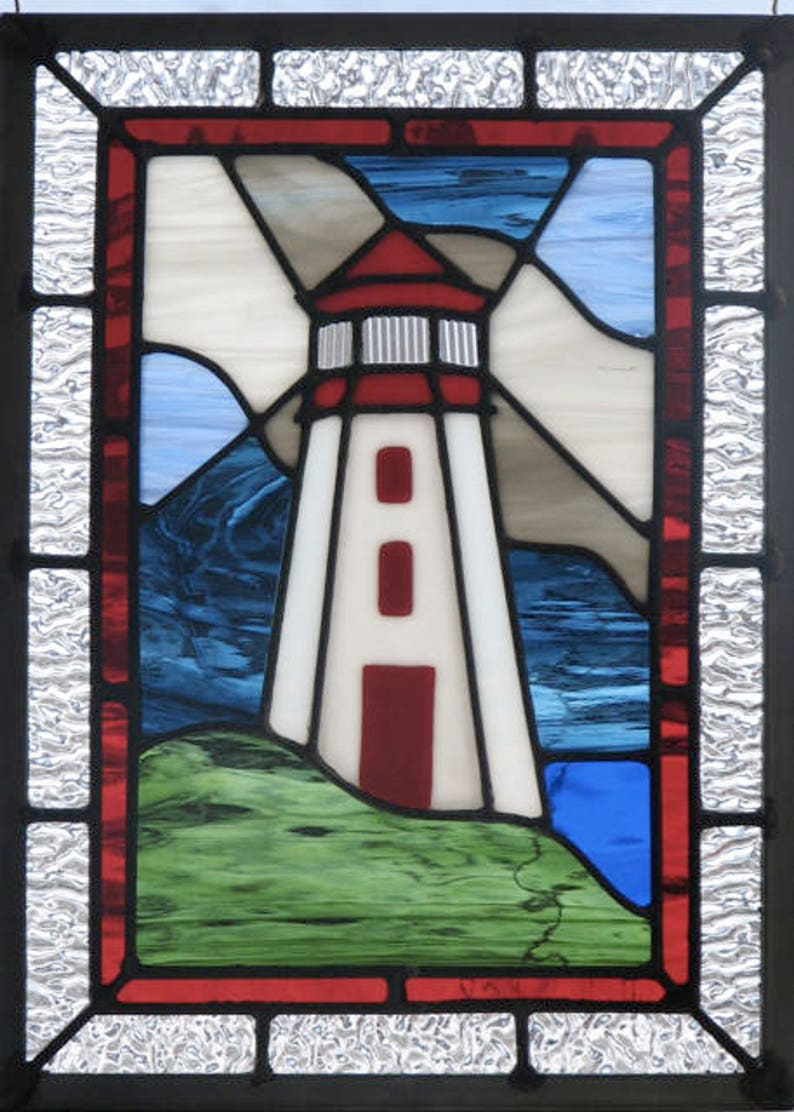 03ba05a62dbeda Stormy Lighthouse Stained Glass Panel Pattern