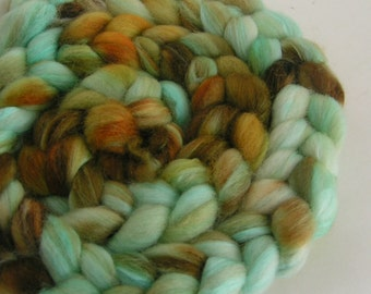 Fiber Roving Top BFL Silk RAW TURQUOISE Top Hand Painted Blue Brown Green Wool Spin Felt Craft Roving 4 ounces