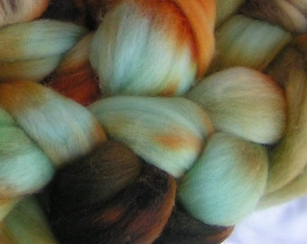 RAW TURQUOISE Merino Fine Top Roving Hand Painted February PHAT Fiber Feature Spin Felt Craft 4 ounces
