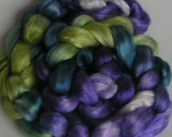 Silk Top Sliver Mulberry Roving Fiber Supreme FJORD Sample PHAT Fiber Luxurious A1 Quality Hand Painted Handspinning