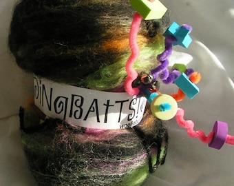 DiNgBaTtS  Art Fiber Fun Batt Club Approx 2 ounces per month for 3 months Kooky Wacky Crazy Wild Everything