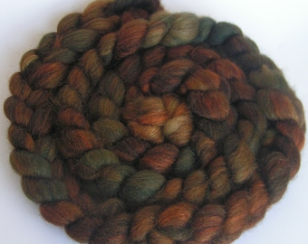Fiber Roving Top BFL Silk CHOCOLATE SOUP Top Hand Painted Wool Spin Felt Craft Roving 4 ounces
