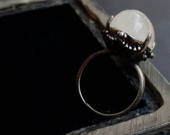 Rainbow Moonstone Ring Black witchy clothing Witchy Jewelry Witchy Ring Oxidized silver ring Adjustable Moonstone Jewelry