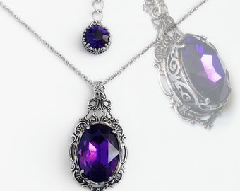 Purple Necklace Gothic Jewelry victorian Gothic Necklace dark purple crystal necklace Silver gothic clothing victorian jewelry