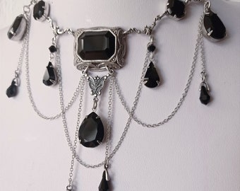 Gothic Bridal Jewelry set Black Gothic Necklace earrings statement Halloween wedding bib necklace Swarovski and Draping Chains