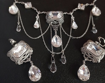 Bridal Necklace Clear Crystal Gothic Necklace statement necklace Gothic Jewelry bib necklace Swarovski and Draping Chains