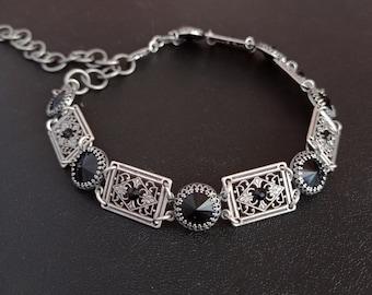 Black Swarovski choker womens antique Silver Gothic Choker necklace Gothic Jewelry //Alternative Dark Fashion