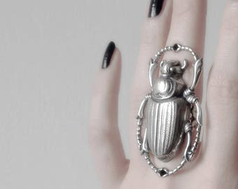 Egypt ring scarab ring Egypt Jewelry Gift for Women cocktail ring Gothic Jewelry Large Silver Ring Statement Ring Alternative jewelry
