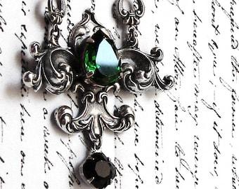 Gothic jewelry Gothic necklaces Green crystal necklace Medieval Necklace lavalier necklace Black swarovski necklace Silver Fleur De Lys Lis