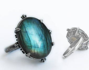 Labradorite Ring silver Labradorite engagement ring gemstone ring blue stone ring Adjustable solitaire ring gift for her