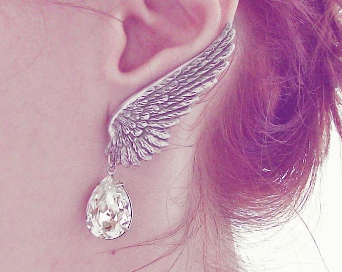 Angel Wing Earrings, Ear Climber, Silver Clip On Earring, Swarovski Crystal