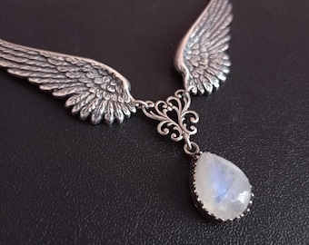 Moonstone Angel Wings Necklace Gothic Jewelry Silver Drop Necklace Aranwen Gothic Fashion Gift For Her