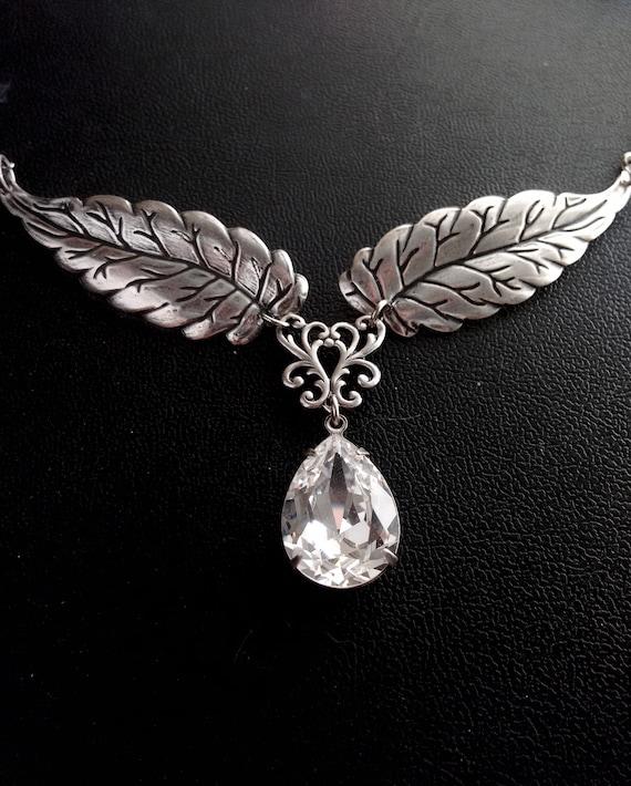 Wald Natur Silber Nymphe Halskette Elfen SchmuckSwarovski Blätter HalsketteFee hrCtdQs