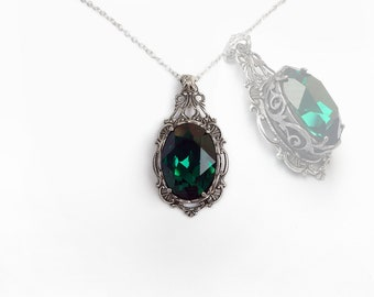 Green Gothic Necklace Emerald Swarovski Pendant Gift for women Victorian Gothic Jewelry Silver Filigree Necklace Pendant Necklace christmas