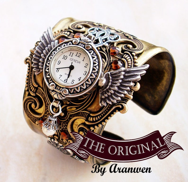 Brass Steampunk Watch Cuff Steampunk Jewelry Mens Watch Etsy