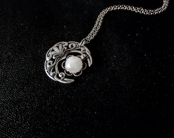 Moonstone Pendant Silver Gift for Women Crescent moon Necklace Wiccan Jewelry Witchy Jewelry witchy clothing wiccan clothing Celestial