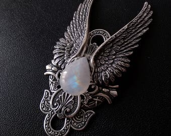 Rainbow Moonstone Necklace witchy Jewelry Large Silver Pendant Angel Jewelry for Women// Statement girlfriend GIFT