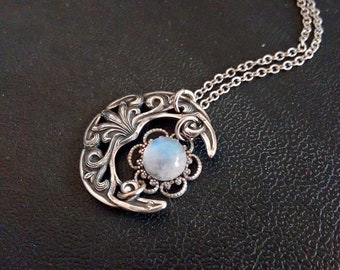 Moonstone Pendant, Wiccan Jewelry, Crescent moon Necklace, Witchy Jewelry gift for her
