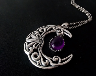Crescent moon Necklace Large Amethyst Pendant Wiccan Jewelry Witchy Jewelry witchy clothing wiccan clothing Silver Celestial jewelry