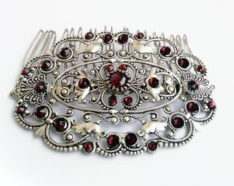 Red Hair Comb Gift For Women Vintage Swarovski crystal Wedding Filigree Garnet Hair accessory Hair Jewelry Formal Party Wedding jewelry