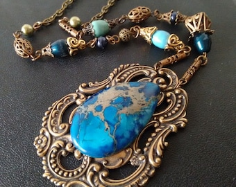 Blue Jasper Necklace Blue Stone Necklace Gift for Women Vintage style Brass Necklace Boho Turquoise Aquamarine Gold Necklace Summer Jewelry