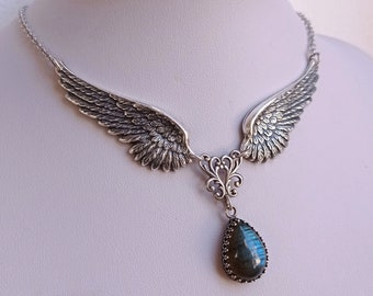 Labradorite Angel Wings Necklace Gothic Jewelry Silver Drop Necklace Aranwen Gothic Fashion Gift For Her
