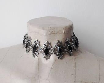 Victorian Choker Necklace black Choker Necklace Silver Filigree Necklace Choker jewelry black crystal choker Swarovski Leaves Vintage Style