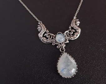 Moonstone Angels Necklace, Silver Victorian Gothic Necklace, Goddess Jewelry
