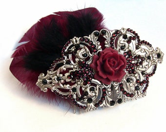Silver Hair Comb with Red and Black Feathers Bordeaux Rose and Burgundy Swarovski crystals Headpiece Gothic Wedding Hair Accessories gift