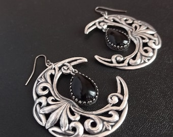 Large Crescent Moon Earrings, Black Onyx Witchy Jewelry for women, Wiccan jewelry