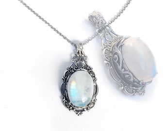 Moonstone Necklace silver rainbow moonstone pendant moonstone jewelry Gothic Jewelry gift for women Gothic Necklace victorian Necklace