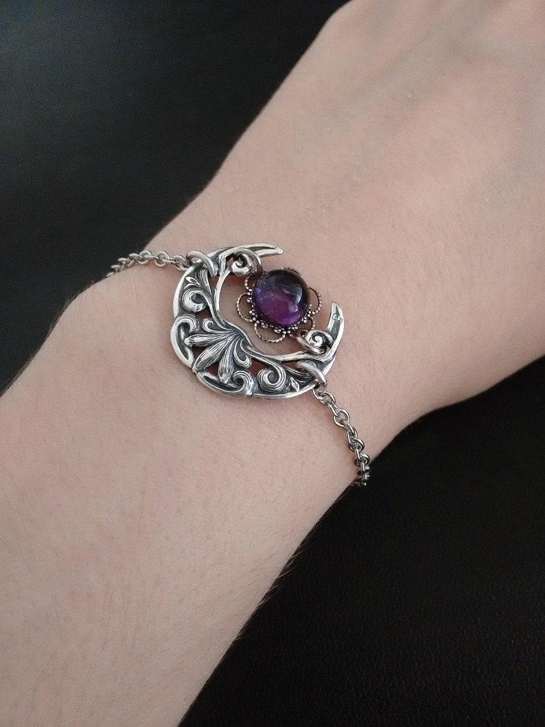 Celtic Amethyst Bracelet for women Silver Witchy Jewelry Crescent \u039coon Bracelet
