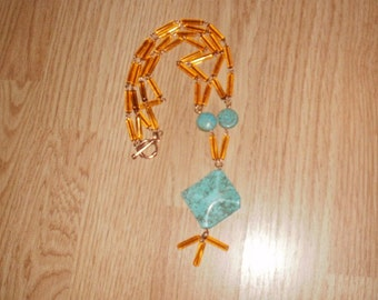 Turquoise brass and amber glass necklace