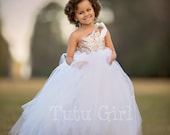 One Shoulder Flower Girl Dress, Blush Gold and Off White Tutu Flower Girl Dress, Blush Gold Sequin Couture Gown, Rose Gold Dress