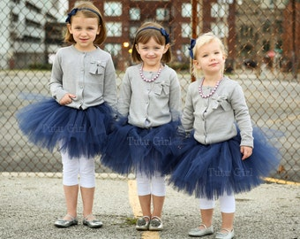 Navy Tutu for Flower Girl, Dark Blue tutu weddings custom, baby, toddler, girls, birthday