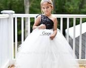 Flower Girl Dress - Tulle Flower Girl Dress - Black Flower Girl Dress, Black Sequins with Cream Skirt, Tulle Dress-Infant Toddler