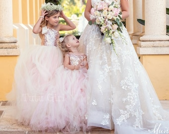 30695861f2c Pink Blush Flower Girl Dress with Pastel Pink and Ivory Tulle