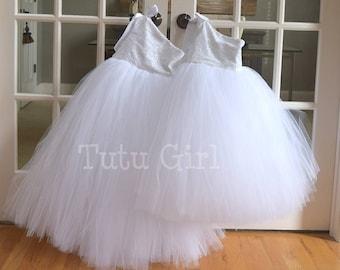 Flower girl tutu dress etsy white flower girl tutu dress mightylinksfo
