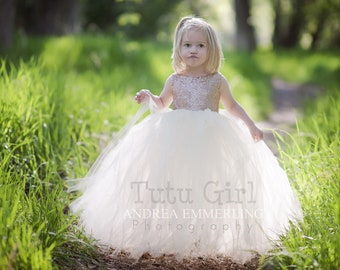 399be64d526 Champagne Sequin Tutu Dress