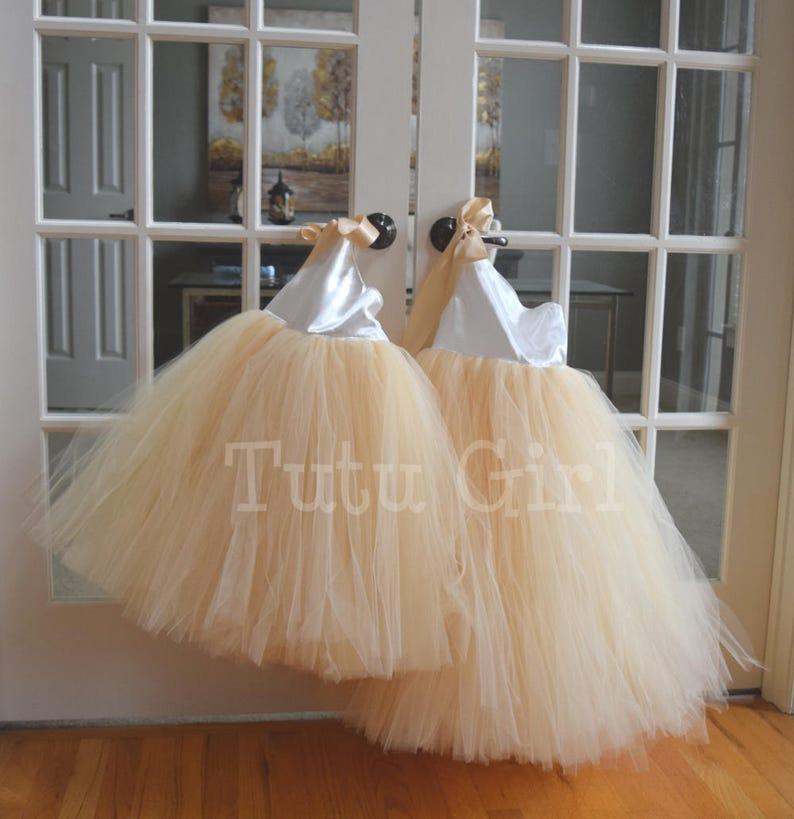 Beige Flower Girl Tutu Dress Ivory Champagne Tulle Dress