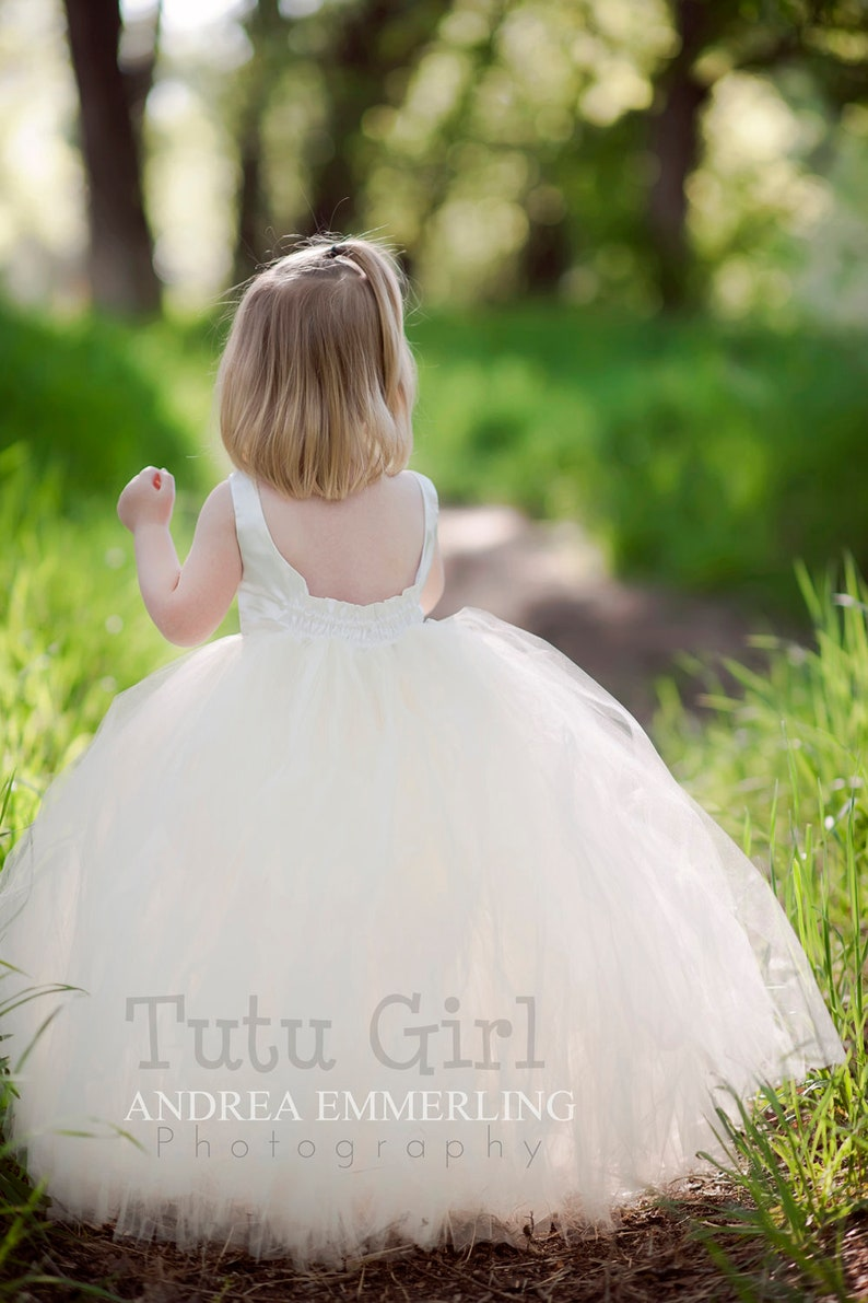 Tutu Dress Floor Length Tulle Flower Girl Dress Off White Light Ivory Baby Toddler Flowergirl Weddings Sleeveless Style