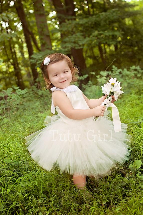 Flower girl tutu dress girls tutu dresses ivory white etsy image 0 mightylinksfo